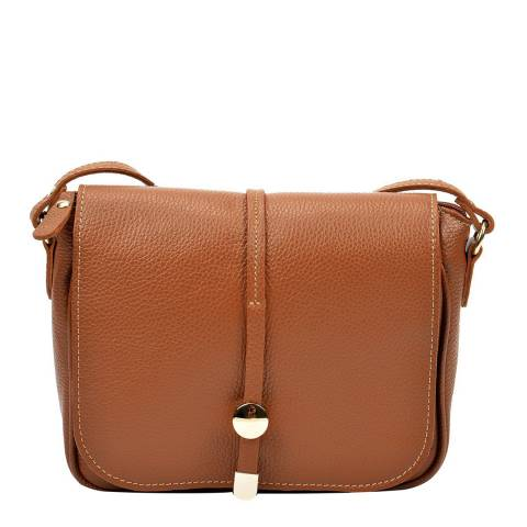 Renata Corsi Cognac Leather Shoulder Bag