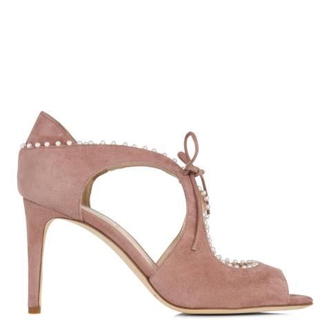 L K Bennett Dark Pink Suede Ellena Heeled Sandals