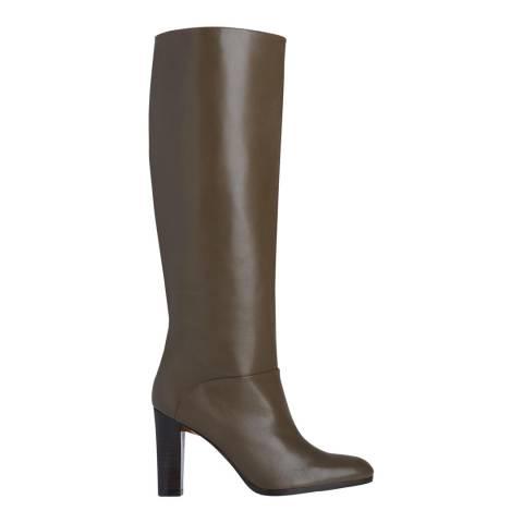 L K Bennett Dark Khaki Reegan Leather Knee High Boot