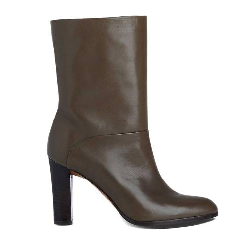 L K Bennett Dark Khaki Leather Rory Ankle Boots