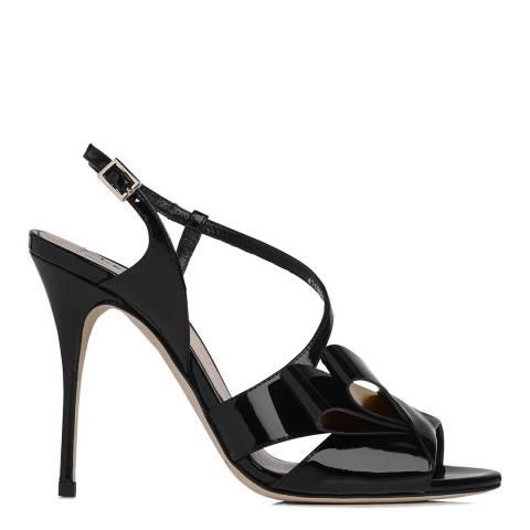 L K Bennett Black/Gold Patent Erica Heeled Sandals