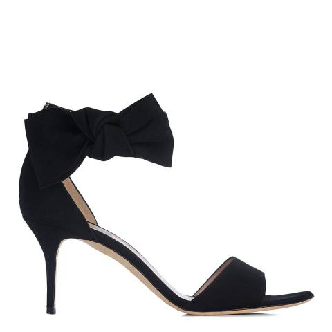 L K Bennett Black Suede Agata Bow Heeled Sandals