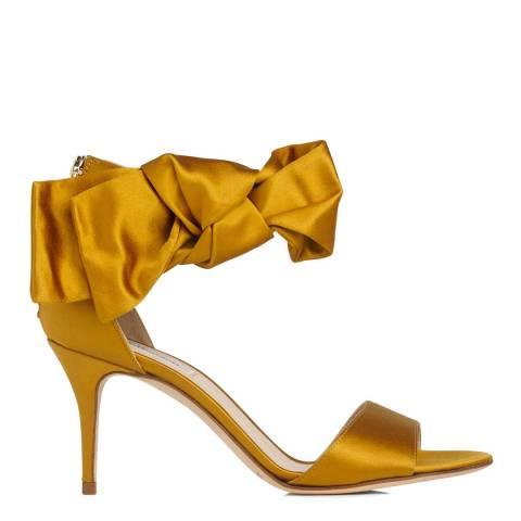 L K Bennett Warm Gold Satin Agata Bow Heeled Sandals