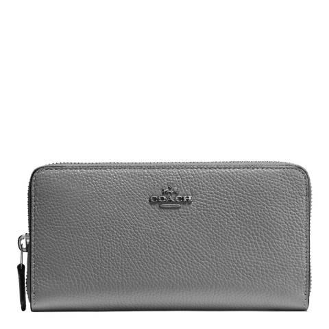 Coach Heather Grey Pebble Leather Accordion Zip Wallet