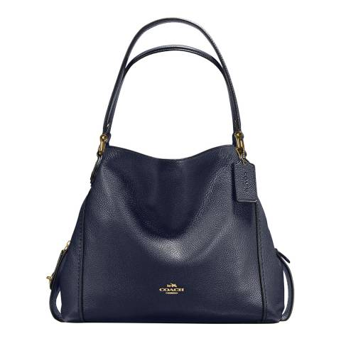 Coach Midnight Navy Pebble Leather Edie 31 Shoulder Bag