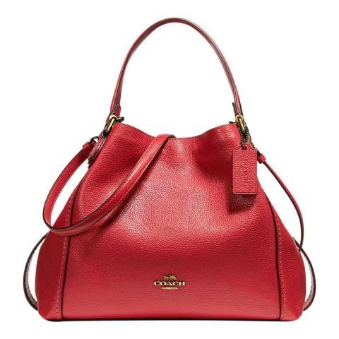 Coach Red Pebble Leather Edie 28 Shoulder Bag
