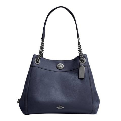 Coach Midnight Navy Turnlock Edie 28 Shoulder Bag