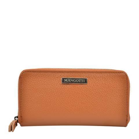 Mangotti Cognac Grainy Leather Zip Around Wallet