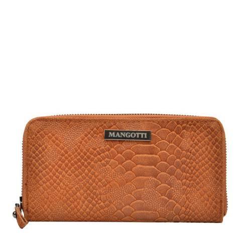 Mangotti Cognac Snake Zip Around Wallet