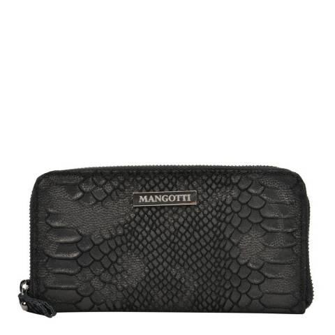 Mangotti Black Snake Zip Around Wallet