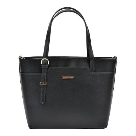 Mangotti Bags Black Leather Tote Bag