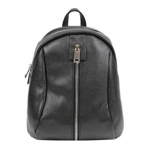 Mangotti Bags Black Front Zip Backpack