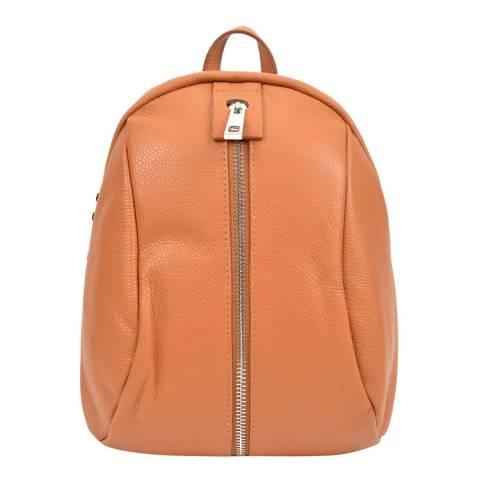 Mangotti Cognac Leather Front Zip Backpack