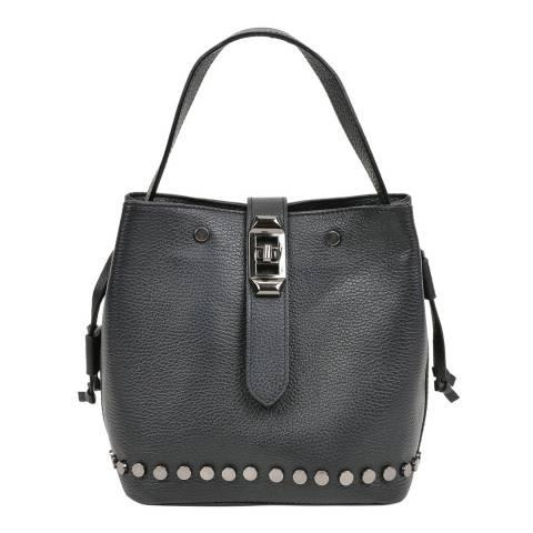 Mangotti Black Leather Studded Bucket Bag