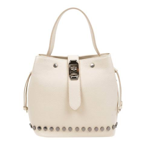 Mangotti Beige Leather Bucket Bag