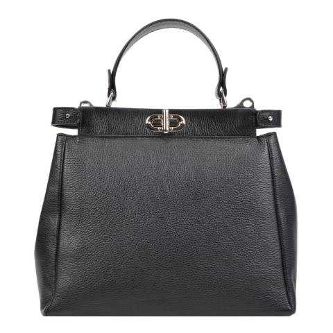 Mangotti Bags Black Leather Buckle Tote Bag