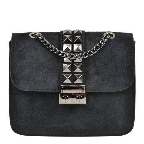 Mangotti Black Suede Studded Shoulder Bag