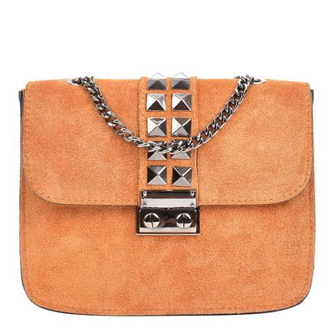 Mangotti Cognac Suede Studded Shoulder Bag