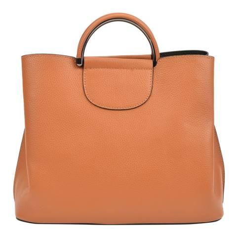 Mangotti Rich Tan Leather Top Handle Handbag