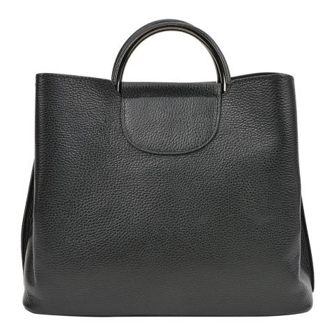 Mangotti Black Leather Top Handle Bag