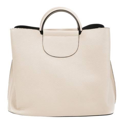 Mangotti Beige Leather Top Handle Handbag