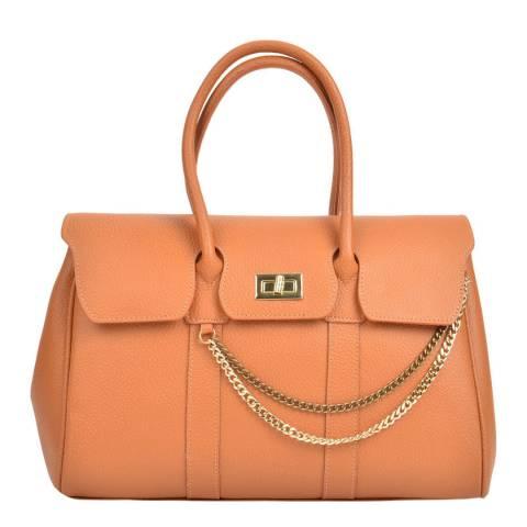 Mangotti Cognac Leather Chain Tote Bag