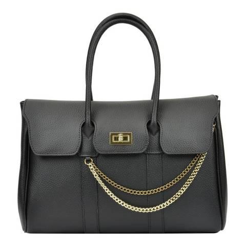 Mangotti Bags Black Leather Chain Tote Bag