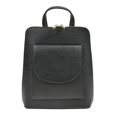 Mangotti Bags Black Leather Top Handle Backpack