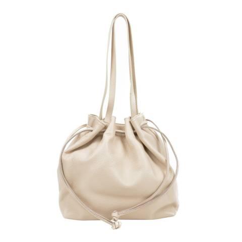Mangotti Beige Leather Drawstring Bag