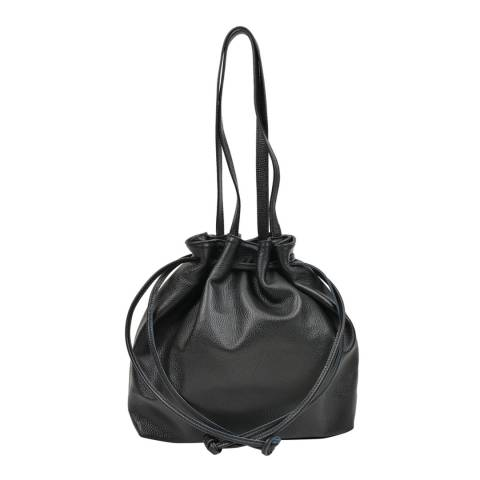 Mangotti Black Leather Drawstring Bag