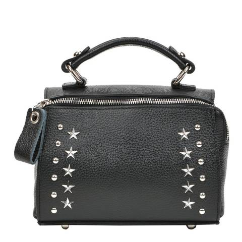 Mangotti Bags Black Leather Studded Top Handle Bag