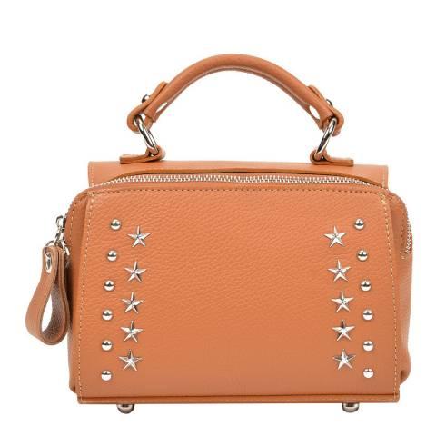 Mangotti Cognac Leather Studded Top Handle Bag