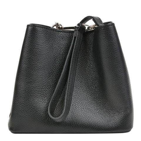 Mangotti Black Leather Duffle Bag