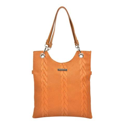 Mangotti Cognac Woven Shoulder Bag