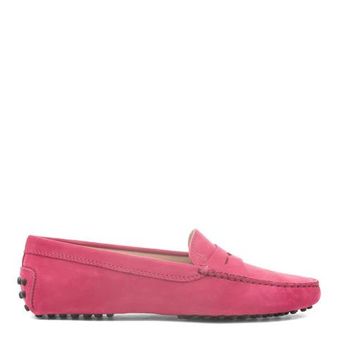 Tod's Red Amaranto Suede Gommino Moccasin