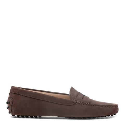 Tod's Brown Chocolate Suede Gommino Moccasin