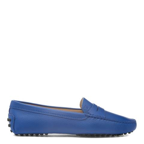 Tod's Blue Gentian Leather Gommino Moccasin