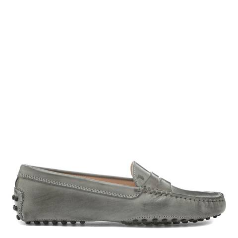 Tod's Light Grey Leather Gommino Moccasin