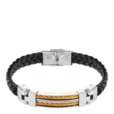 Stephen Oliver Gold/Black Leather Bracelet