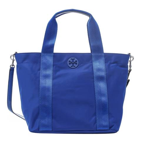 Tory Burch Blue Quinn Small Zip Tote