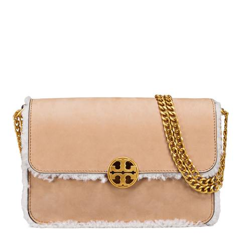 Tory Burch Natural Chelsea Shearling Shoulder Bag