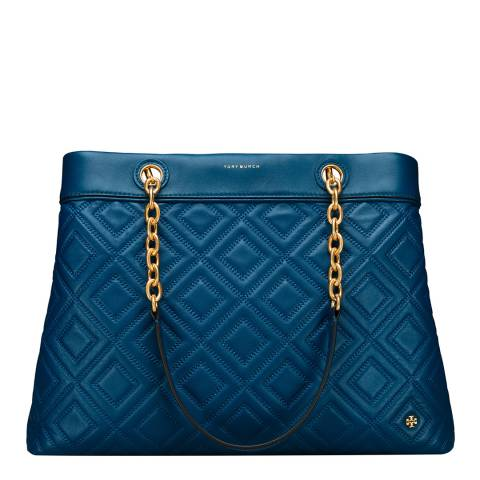 Tory Burch Blue Fleming Triple-Compartment Tote