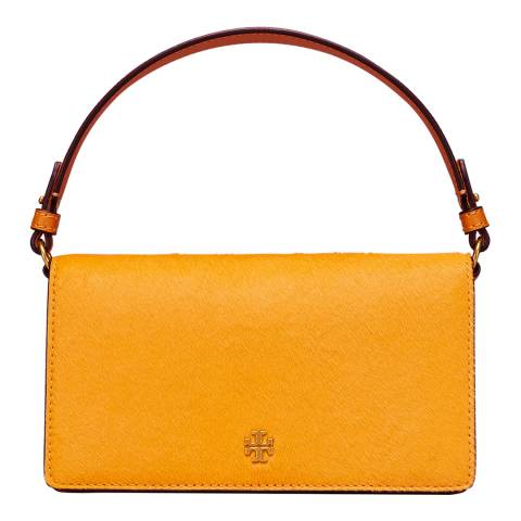 Tory Burch Yellow Cleo Calf Hair Fold-Over Clutch