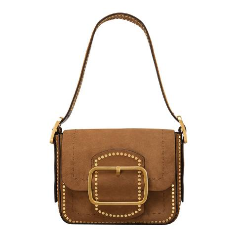 Tory Burch Brown Sawyer Stud Suede Small Shoulder Bag