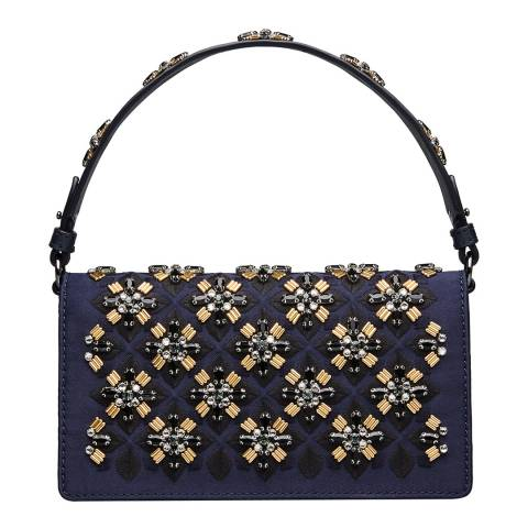 Tory Burch Navy Cleo Embellished Fold-Over Clutch