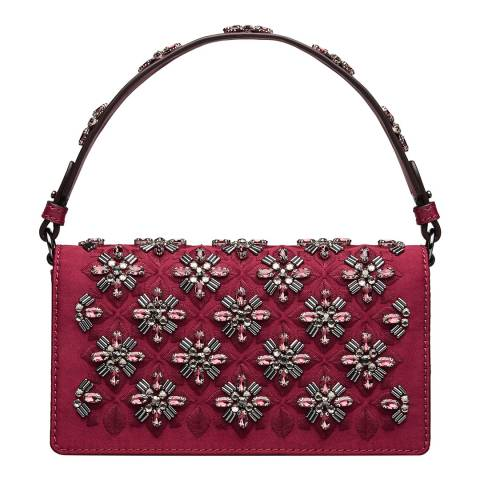 Tory Burch Red Cleo Embellished Fold-Over Clutch