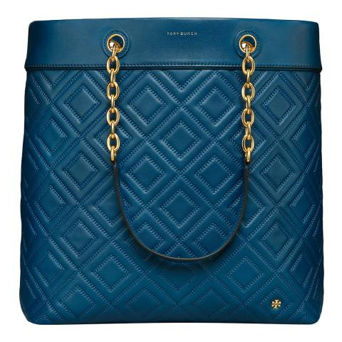 Tory Burch Symphony Blue Leather Fleming Tote