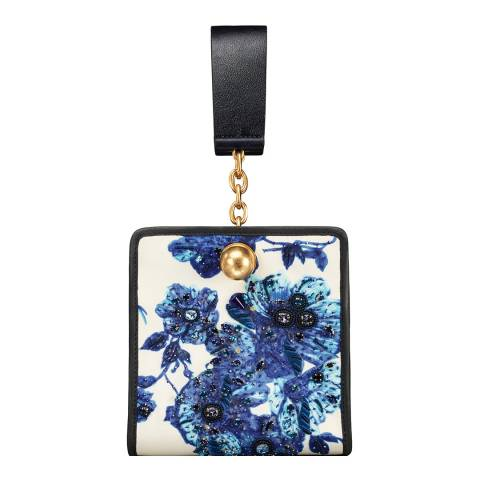 Tory Burch Blue Floral Darcy Embroidered Clutch
