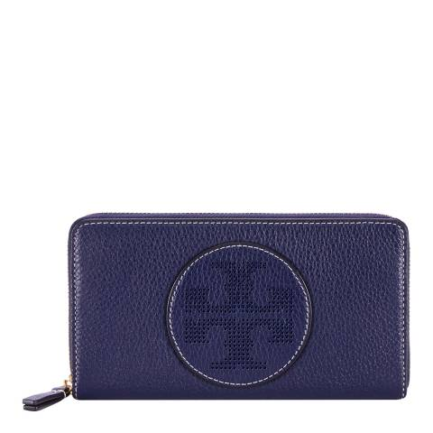 Tory Burch Navy Perforated Logo Zip Continental Wallet