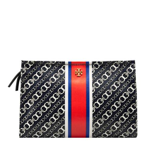 Tory Burch Navy Gemini Link Triangle Cosmetic Case